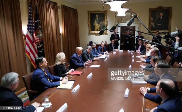 President Donald Trump speaks during a discussion with state attorneys general on protection from social media abuses in the Cabinet Room of the...
