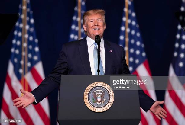 President Donald Trump speaks during a 'Evangelicals for Trump' campaign event held at the King Jesus International Ministry on January 03, 2020 in...