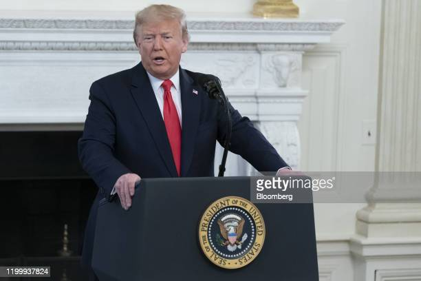 US President Donald Trump speaks during a Governor's White House Business Session in Washington DC US on Monday Feb 10 2020 Trump's budget...