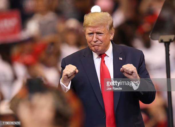 S President Donald Trump speaks during a homecoming campaign rally at the BBT Center on November 26 2019 in Sunrise Florida President Trump continues...