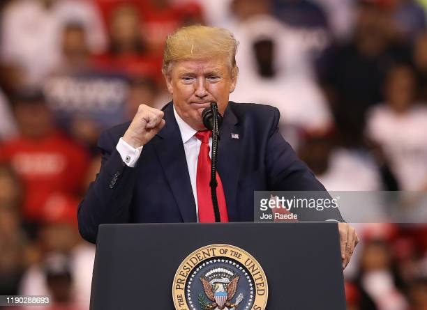 President Donald Trump speaks during a homecoming campaign rally at the BB&T Center on November 26, 2019 in Sunrise, Florida. President Trump...