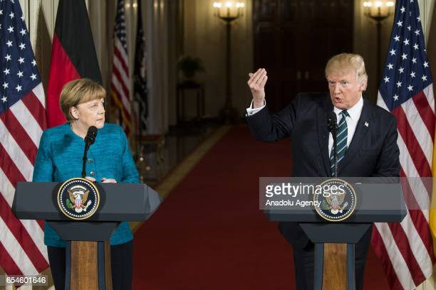 S President Donald Trump speaks during a joint press conference at the White House with German Chancellor Angela Merkel during her visit to...