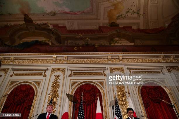 President Donald Trump speaks during a joint press conference with Japan's Prime Minister Shinzo Abe at Akasaka Palace in Tokyo on May 27, 2019.
