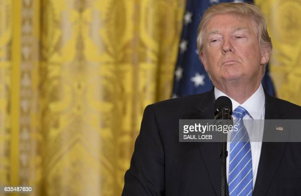 President Donald Trump speaks during a joint press conference with Israeli Prime Minister Benjamin Netanyahu in the East Room of the White House in...