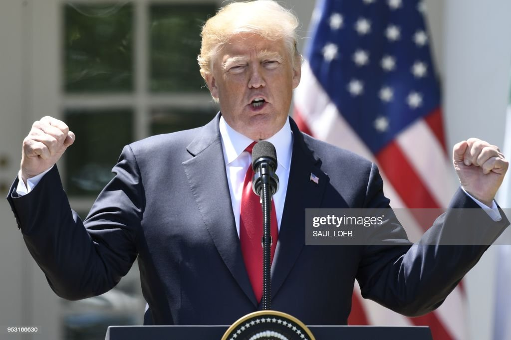 US President Donald Trump speaks during a joint press conference with Nigerian President Muhammadu Buhari in the Rose Garden of the White House on April 30, 2018, in Washington, DC.