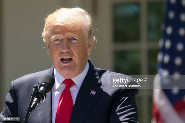 US President Donald Trump speaks during a joint press conference with Nigerian President Muhammadu Buhari at the Rose Garden at the White House April...