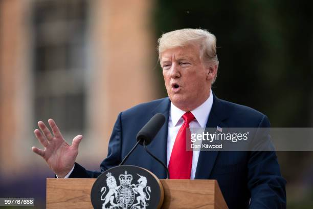 S President Donald Trump speaks during a joint press conference with Prime Minister Theresa May at Chequers on July 13 2018 in Aylesbury England US...