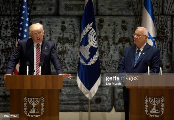 President Donald Trump speaks during a joint statment with Israel's President Reuven Rivlin at the President's House on May 22, 2017 in Jerusalem,...