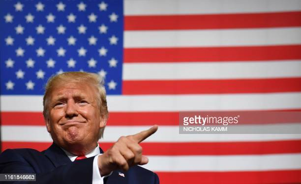 President Donald Trump speaks during a Keep America Great campaign rally at the SNHU Arena in Manchester New Hampshire on August 15 2019 /...