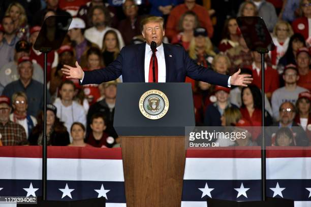 """President Donald Trump speaks during a """"Keep America Great"""" campaign rally at BancorpSouth Arena on November 1, 2019 in Tupelo, Mississippi. Trump is..."""