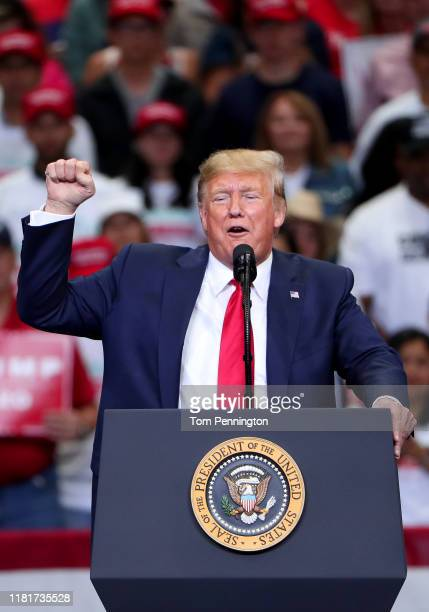 """President Donald Trump speaks during a """"Keep America Great"""" Campaign Rally at American Airlines Center on October 17, 2019 in Dallas, Texas."""