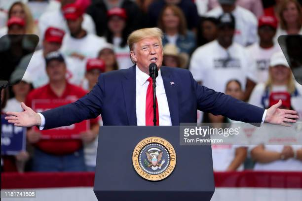 S President Donald Trump speaks during a Keep America Great Campaign Rally at American Airlines Center on October 17 2019 in Dallas Texas