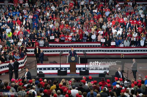 """President Donald Trump speaks during a """"Keep America Great"""" campaign rally at Drake University in Des Moines, Iowa, January 30, 2020."""