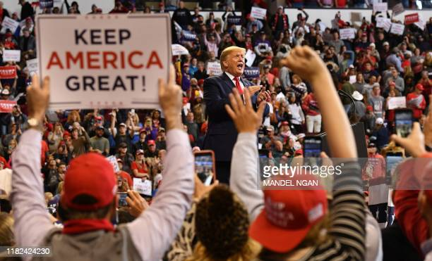 "President Donald Trump speaks during a ""Keep America Great"" rally at the CenturyLink Center in Bossier City, Louisiana on November 14, 2019."