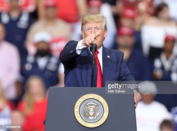 """President Donald Trump speaks during a """"Keep America Great"""" rally at the Monroe Civic Center on November 06, 2019 in Monroe, Louisiana. President..."""