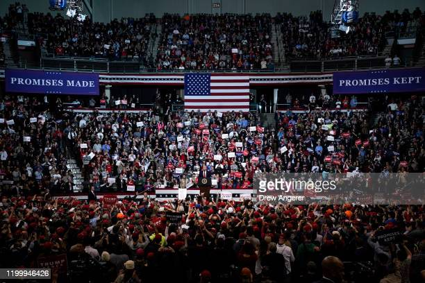 S President Donald Trump speaks during a Keep America Great rally at Southern New Hampshire University Arena on February 10 2020 in Manchester New...
