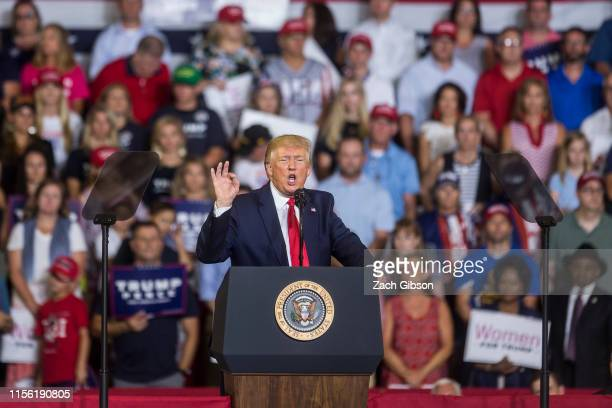President Donald Trump speaks during a Keep America Great rally on July 17, 2019 in Greenville, North Carolina. Trump is speaking in North Carolina...