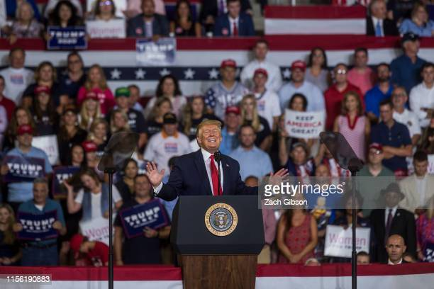 President Donald Trump speaks during a Keep America Great rally on July 17 2019 in Greenville North Carolina Trump is speaking in North Carolina only...