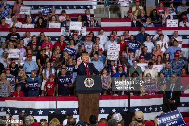 President Donald Trump speaks during a Keep America Great rally on July 17 2019 in Greenville North CarolinaTrump is speaking in North Carolina only...