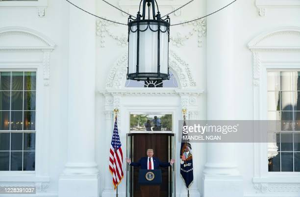 President Donald Trump speaks during a labor day press conference at the North Portico of the White House in Washington, DC on September 7, 2020.