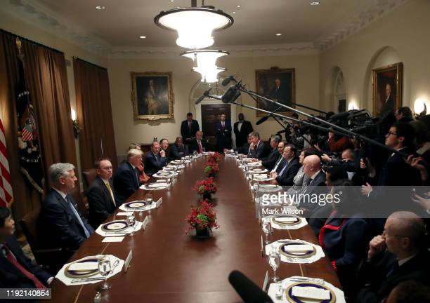 President Donald Trump speaks during a luncheon with representatives of the United Nations Security Council, in the Cabinet Room at the White House...