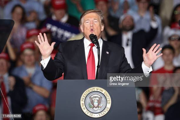 S President Donald Trump speaks during a 'Make America Great Again' campaign rally at Williamsport Regional Airport May 20 2019 in Montoursville...