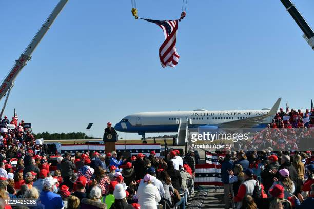 President Donald Trump speaks during a Make America Great Again Victory Rally with Thom Tillis and Dan Forest at Fayetteville Regional Airport, in...