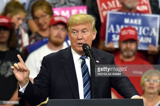 US President Donald Trump speaks during a Make America Great Again rally in Billings Montana on September 6 2018