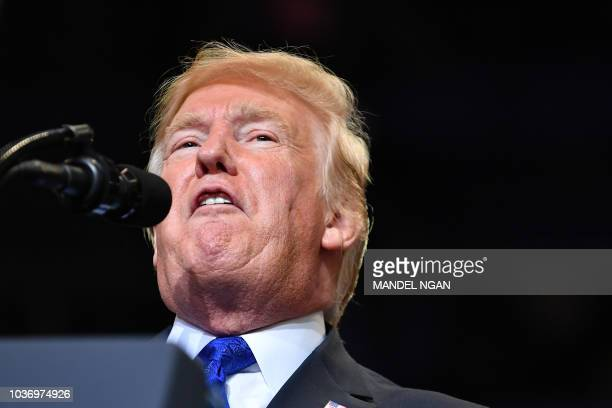 S President Donald Trump speaks during a campaign rally at the Las Vegas Convention Center on September 20 2018 in Las Vegas Nevada Trump is in town...