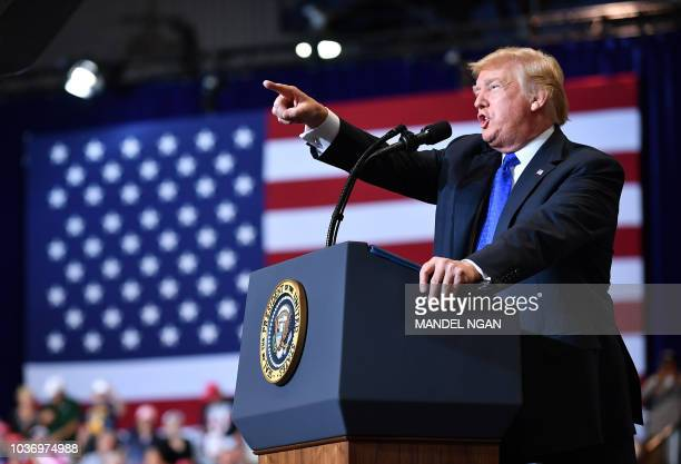 President Donald Trump speaks during a Make America Great Again rally at the Las Vegas Convention Center in Las Vegas Nevada on September 20 2018