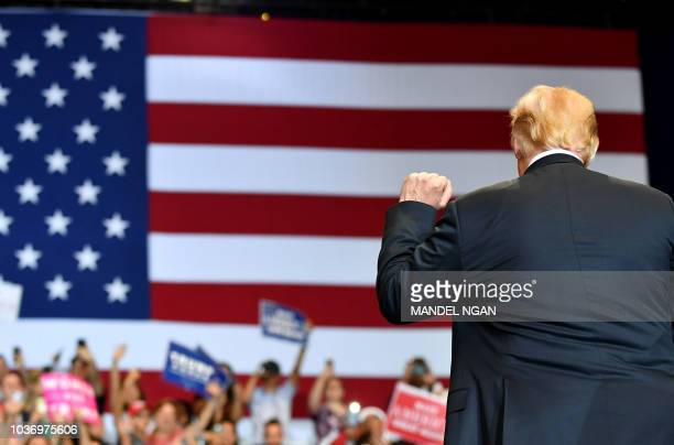 US President Donald Trump speaks during a 'Make America Great Again' rally at the Las Vegas Convention Center in Las Vegas Nevada on September 20 2018