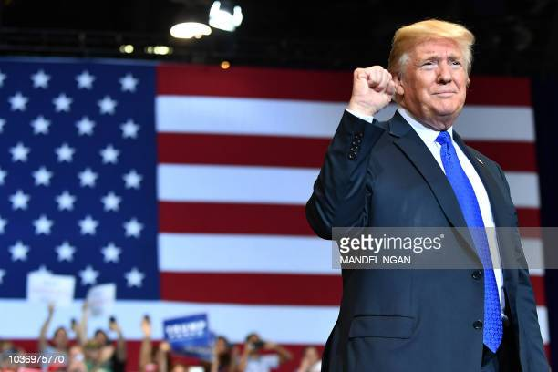US President Donald Trump speaks during a Make America Great Again rally at the Las Vegas Convention Center in Las Vegas Nevada on September 20 2018