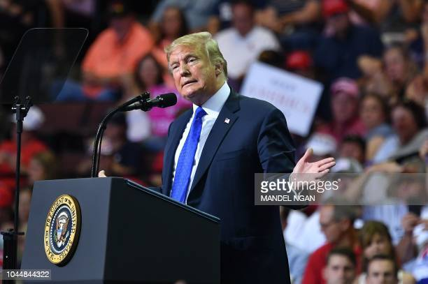 US President Donald Trump speaks during a Make America Great Again rally at Landers Center in Southaven Mississippi on October 2 2018