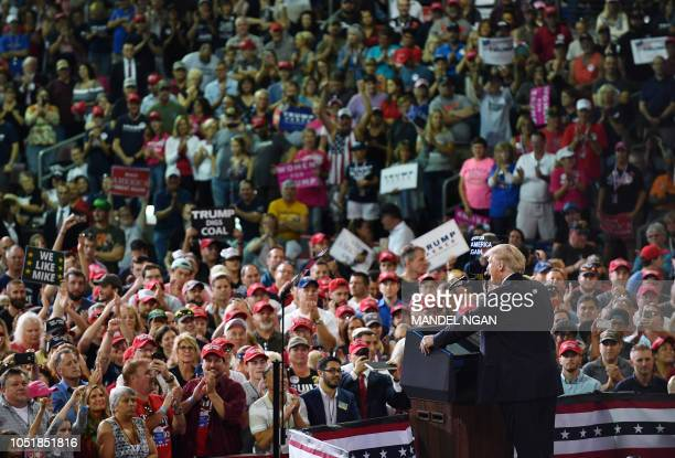 US President Donald Trump speaks during a 'Make America Great Again' rally at Erie Insurance Arena on October 10 in Erie Pennsylvania