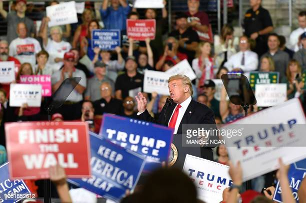 President Donald Trump speaks during a 'Make America Great Again' rally at Erie Insurance Arena on October 10 in Erie Pennsylvania