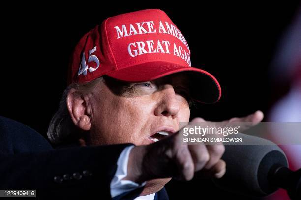 President Donald Trump speaks during a Make America Great Again rally at Richard B. Russell Airport in Rome, Georgia on November 1, 2020.