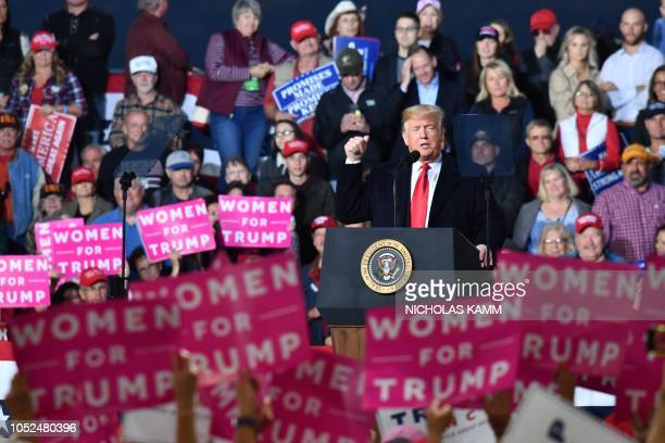 President Donald Trump speaks during a 'Make America Great' rally in Missoula Montana on October 18 2018