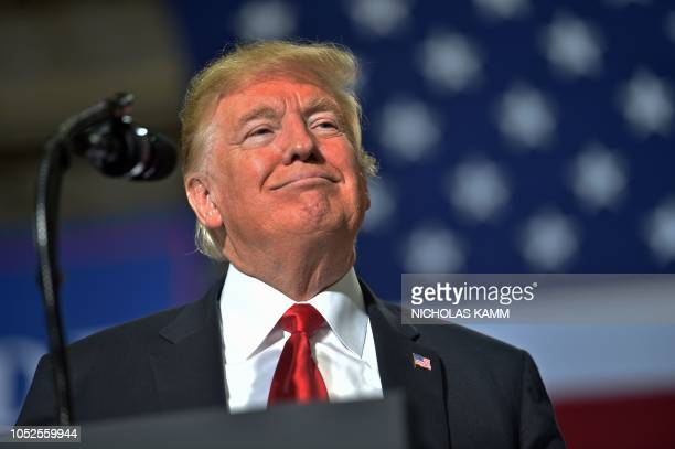 US President Donald Trump speaks during a Make America Great rally in Mesa Arizona on October 19 2018 US President Donald Trump said Friday October...