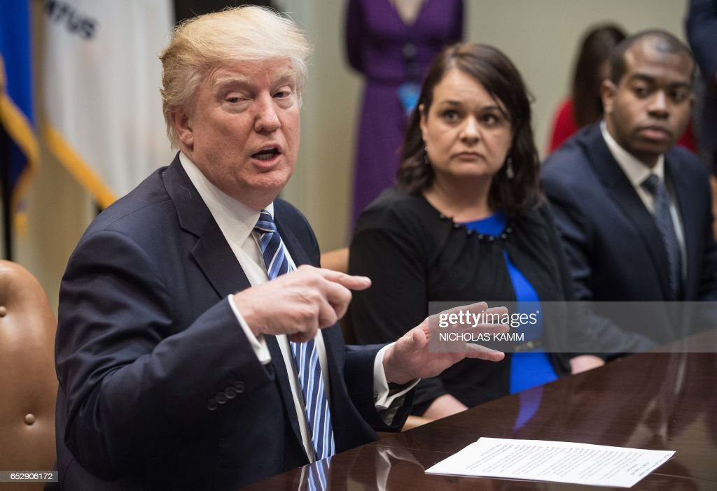 US President Donald Trump speaks during a meeting about healthcare in the Roosevelt Room at the White House in Washington, DC, on March 13, 2017. /