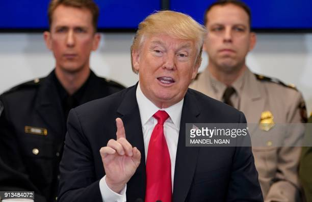 US President Donald Trump speaks during a meeting at the Customs and Border Protection National Targeting Center in Sterling Virginia on February 2...