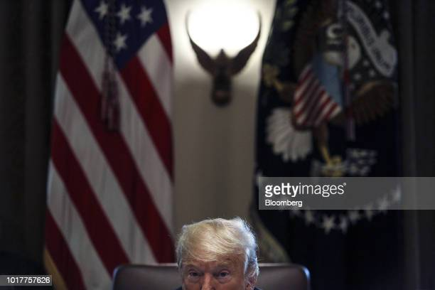 US President Donald Trump speaks during a meeting in the Cabinet Room of the White House in Washington DC US on Thursday Aug 16 2018 Trump prodded...