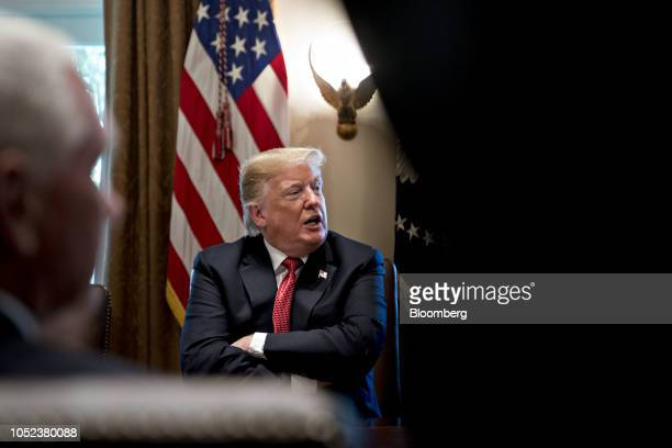 US President Donald Trump speaks during a meeting in the Cabinet Room of the White House in Washington DC US on Wednesday Oct 17 2018 Trump plans to...