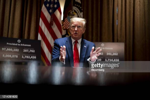 President Donald Trump speaks during a meeting in the Cabinet Room of the White House in Washington, D.C., U.S., on Wednesday, May 20, 2020. Trump...