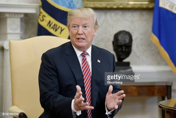 US President Donald Trump speaks during a meeting in the Oval Office of the White House in Washington DC US on Friday Feb 9 2018 Trump during the...