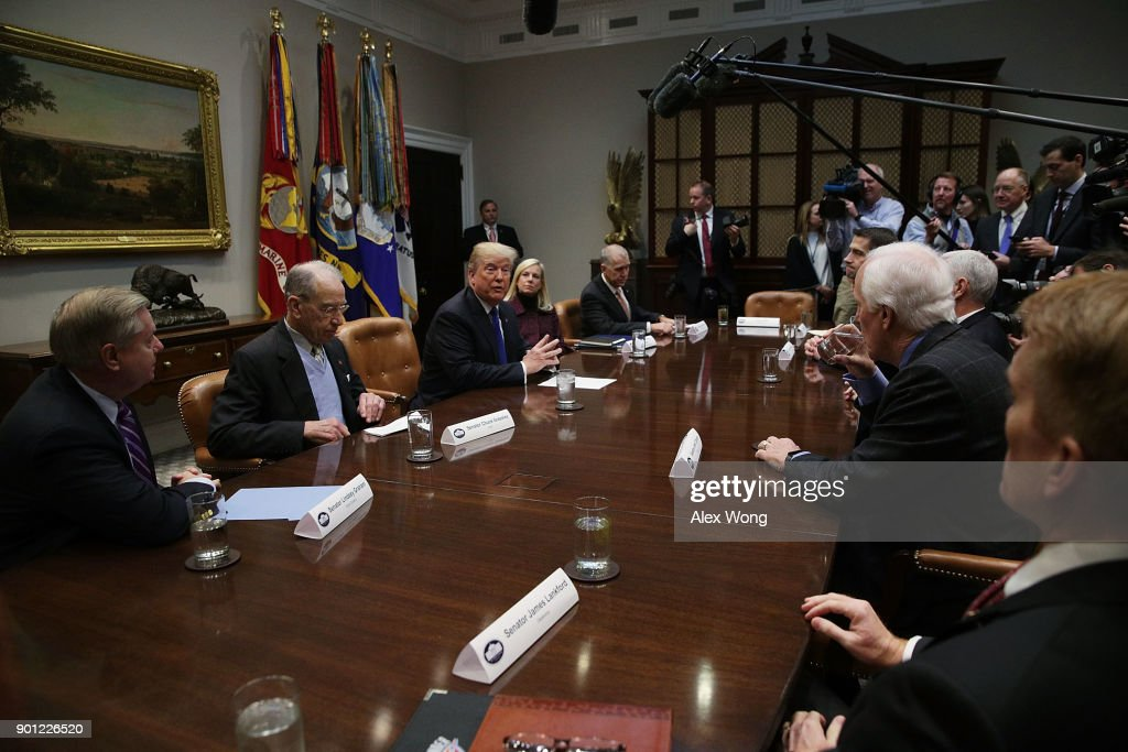 U.S. President Donald Trump speaks during a meeting in the Roosevelt Room of the White House January 4, 2018 in Washington, DC. President Trump met with Republican members of the Senate to discuss immigration.