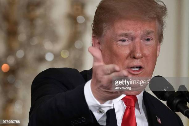 S President Donald Trump speaks during a meeting of the National Space Council at the East Room of the White House June 18 2018 in Washington DC It's...