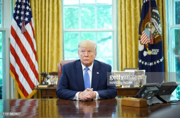 President Donald Trump speaks during a meeting with advisors about fentanyl in the Oval Office of the White House in Washington DC on June 25 2019