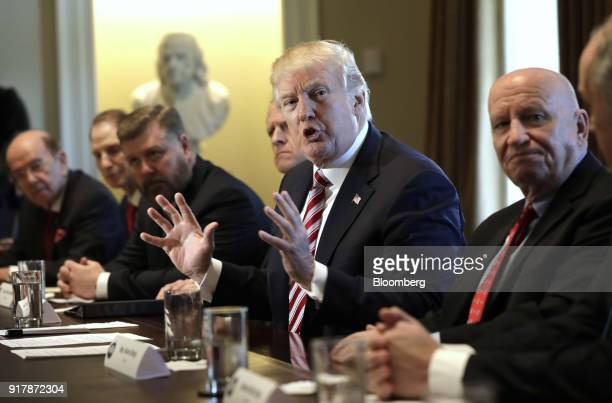 US President Donald Trump speaks during a meeting with bipartisan members of Congress on trade in the Cabinet Room of the White House in Washington...