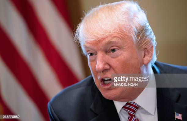 US President Donald Trump speaks during a meeting with bipartisan members of Congress on infrastructure in the Cabinet Room of the White House on...