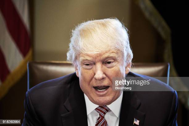 US President Donald Trump speaks during a meeting with bipartisan members of congress in the Cabinet Room of the White House in Washington DC US on...